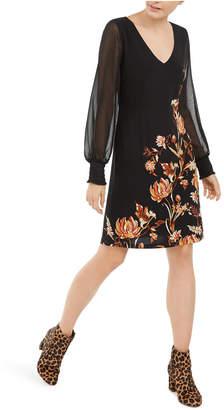 INC International Concepts Inc Floral-Print Statement-Sleeve Dress