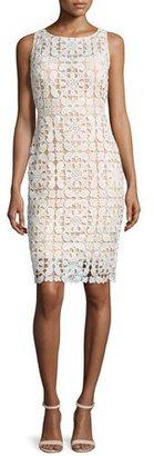 Jovani Sleeveless Macrame Sheath Dress, Ivory/Nude $495 thestylecure.com