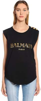 Balmain Logo Cotton Jersey Sleeveless T-Shirt