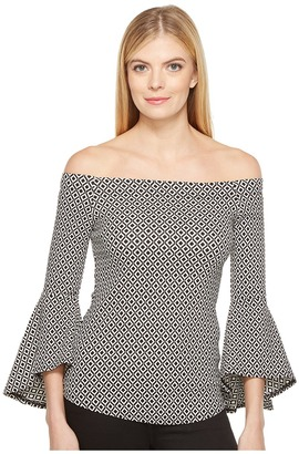 Karen Kane - Diamond Jacquard Bell Sleeve Top Women's Clothing $79 thestylecure.com