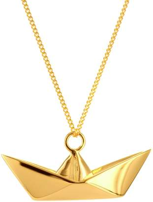 Origami Jewellery Boat Necklace Gold