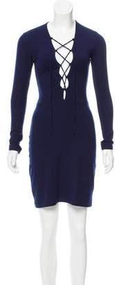 Reformation Rib Knit Lace-Up Dress