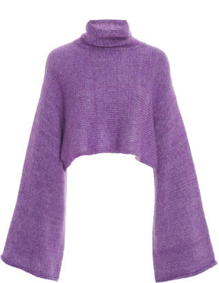 Sally LaPointe Cropped Mohair-Blend Turtleneck Size: XS/S