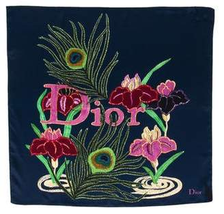 Christian Dior Silk Floral Small Square Scarf