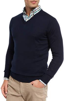 Peter Millar Crown Soft Merino/Silk Wool V-Neck Sweater