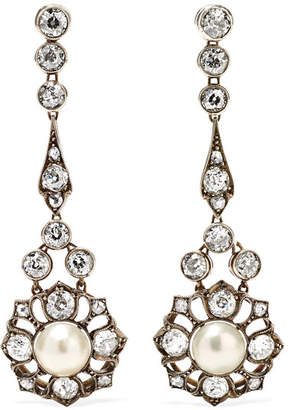 Fred Leighton Antique Gold-plated, Diamond And Pearl Clip Earrings