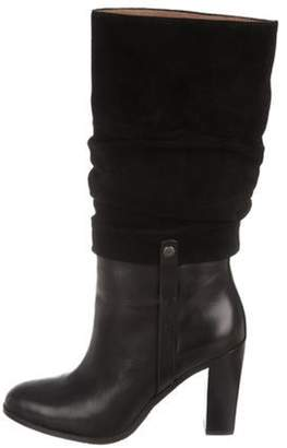 Donald J Pliner Leather Semi Pointed-Toe Boots Black Leather Semi Pointed-Toe Boots