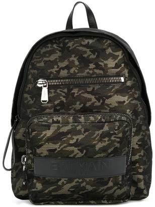 Balmain camouflage print backpack