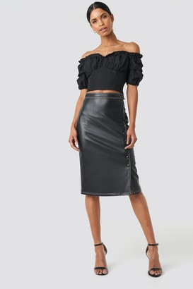 0686b6f230 NA-KD Anna Nooshin X Front Button Contrast Faux Leather Skirt Black