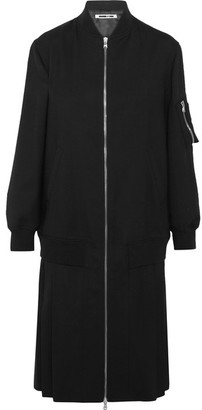 McQ Alexander McQueen - Pleated Stretch-wool Coat - Black $990 thestylecure.com