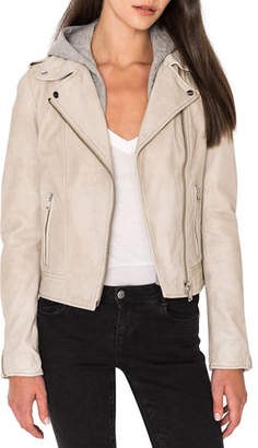 LAMARQUE Holy Leather Biker Jacket w/ Removable Hood
