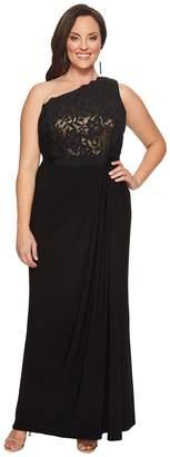 Adrianna Papell Plus Size Metallic Lace Jersey Dress Women's Dress