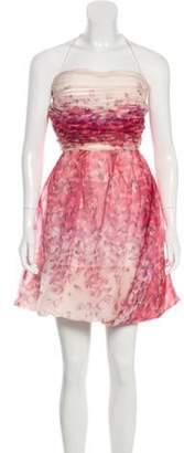 Blumarine Strapless Silk Dress Magenta Strapless Silk Dress