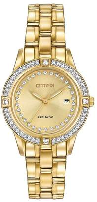 Citizen Women's Eco-Drive Silhouette Crystal Gold-tone Bracelet Watch, 29mm
