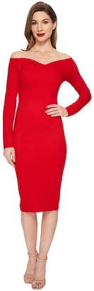 Unique Vintage Long Sleeved Cape Cod Wiggle Dress Women's Dress