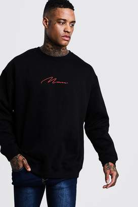 BoohooMAN Oversized Red MAN Signature Sweater