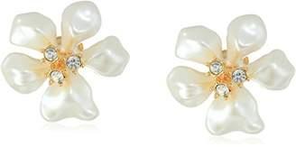 Kenneth Jay Lane Gold Crystal White Flower Clip-On Earrings