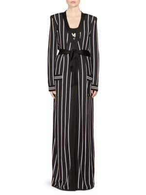 Balmain Striped Viscose Long Cardigan