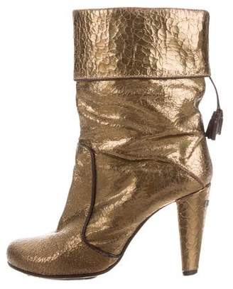 CNC Costume National Metallic Leather Mid-Calf Boots