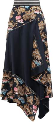 Peter Pilotto Asymmetric Printed Hammered-silk Maxi Skirt
