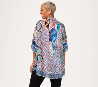 Tolani Collection Mandarin Collar Printed Woven Caftan Tunic