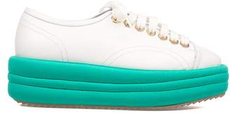 White/teal Blue Leather Wedge Sneakers