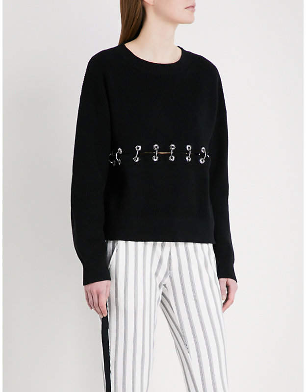 Eyelet-detail ribbed-knit cotton jumper