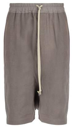 Rick Owens Pod Cotton, Linen And Wool Blend Shorts - Mens - Grey