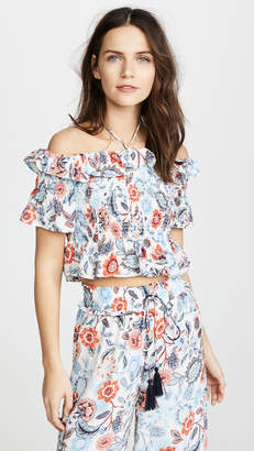 Moon River Smocked Floral Blouse