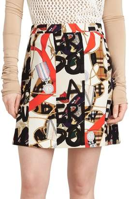Burberry Stanforth Graffiti Archive Print Silk & Wool Skirt