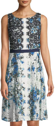 Karl Lagerfeld Paris Sleeveless Printed Lace Dress