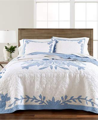 Martha Stewart Collection Aloha Blue Cotton Reversible Full/Queen Quilt