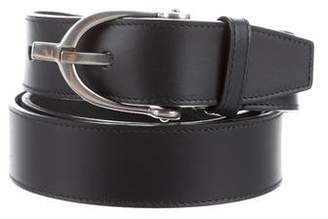 Gucci Web-Trimmed Leather Belt