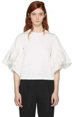 See by Chloe White Ruffle Sleeve T-Shirt