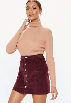 Missguided Plum Cord Button Mini Skirt
