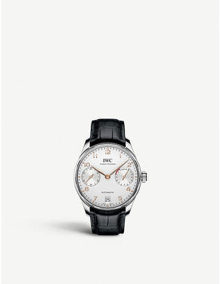 IWC IW500704 Portugieser alligator-leather watch