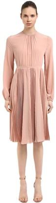 Rochas Open Back Silk Crepe De Chine Dress