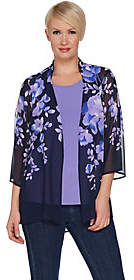 Susan Graver Printed Chiffon Cardigan and KnitTank Set