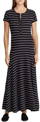 Ralph Lauren Henley Stripe Maxi Dress