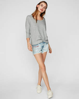 Express One Eleven Twist Front Slouchy Dolman Tee