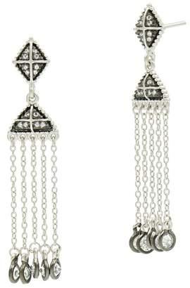Freida Rothman Two-Tone Industrial Pave & Bezel Set CZ Tassel Drop Earrings