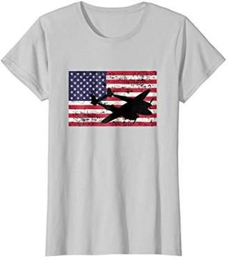 Womens Patriotic P-38 Lightning airplane American flag t-shirt XL