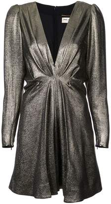 Saint Laurent V-neck metallic dress