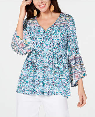 Style&Co. Style & Co Plus Size Mesh Lantern-Sleeve Peasant Top