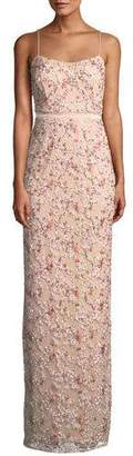 Aidan Mattox Floral Embroidered Gown w/ Beading