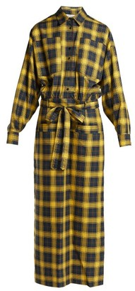 ATTICO The Checked Tie Waist Cotton Shirtdress - Womens - Yellow Multi