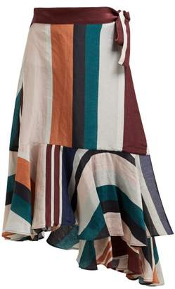 Apiece Apart Rosita High Rise Linen And Silk Blend Wrap Skirt - Womens - Multi