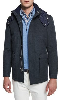 Peter Millar Tempest All-Weather Hooded Jacket, Royal Emerald $1,598 thestylecure.com