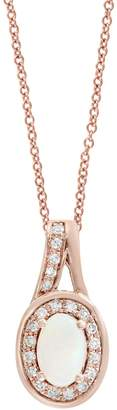 Effy 0.09 CT. T.W. Diamond, Opal and 14K Rose Gold Oval Halo Pendant Necklace
