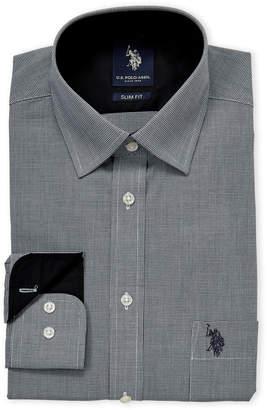 U.S. Polo Assn. Black Mini Houndstooth Slim Fit Dress Shirt